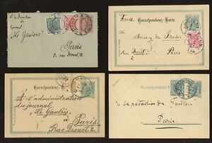 AUSTRIA-1900-06-LETTERCARD-UPRATED-STATIONERY-4-ITEMS-to-FRANCE