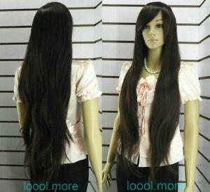 Fashion-Extra-long-Straight-Dark-brown-Women-wig-Free-Hairnet-HE16
