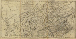 HUGE 1770 PA MAP Jersey Shore Jessup Jim Thorpe Kane Pennsylvania HISTORY RARE