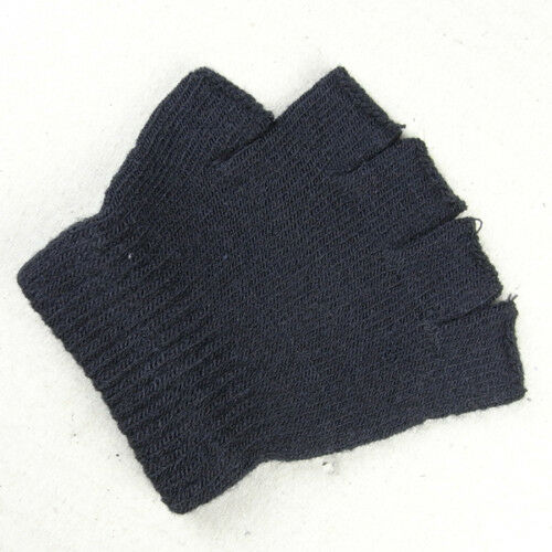 Boys Girls Kids Plain Black Fingerless Gloves Knitted