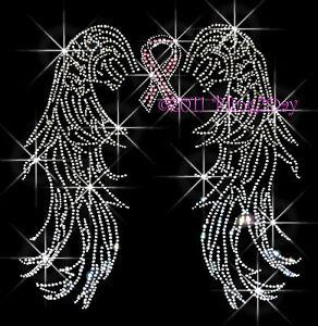 BREAST-CANCER-ANGEL-WINGS-RHINESTONE-IRON-ON-TRANSFER