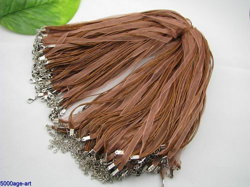 10pcs Lobster brown Clasp Organza Ribbon Cord Necklaces