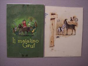 DANIELA-PITTON-13-bozzetti-originali-IL-MAIALINO-GRUF-ediz-Malipiero-1963-ca