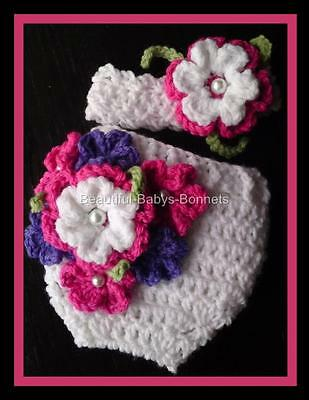 CROCHET PATTERN for Flower Nappy/Diaper Cover/Wrap Headband Babys Photo Prop #39