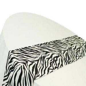 Zebra-Table-Runner-12-034-x108-034-Animal-Print-3D-Flocking-Taffeta-Black-White-Wedding
