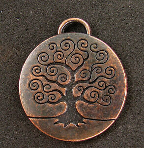 Copper-TREE-OF-LIFE-Pendant-GODDESS-Jewelry-Wicca-Pagan-Supplies-NR-vintage