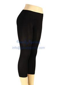 NEW-Ultra-Stretch-Seamless-Footless-YOGA-TIGHTS-S-M-L-XL-Capri-LEGGINGS-Black