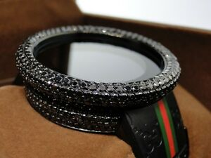 17 0 ct mens custom big bezel full i gucci digital black diamond watch image is loading 17 0 ct mens custom big bezel full