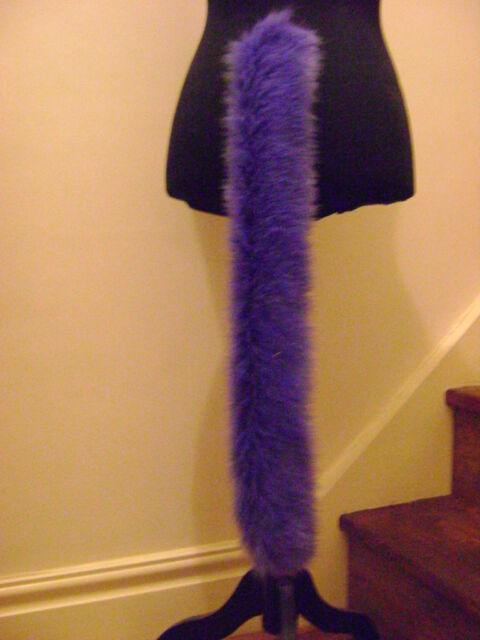 "Animal Tail Purple Faux Fur Long Pile 28"" Long Fab"