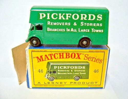 Matchbox RW 46b Pickford removal van verde ruedas negras en  d  box