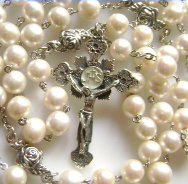 Rare Sterling 925 Silver Rose Beads Real Pearl ROSARY CRUCIFIX CATHOLIC NECKLACE