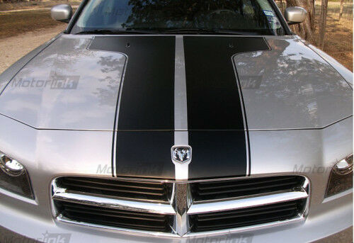 2006-2010 Dodge Charger T Hood Blackout Stripes Decals Accent  06 07 08 09 10