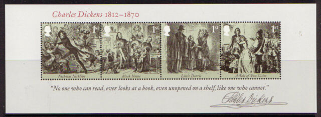 GREAT BRITAIN 2012 CHARLES DICKENS MINIATURE SHEET UNMOUNTED MINT, MNH