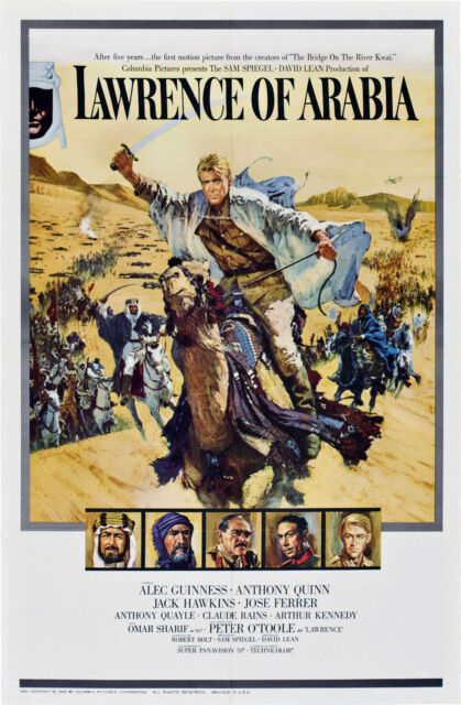 LAWRENCE OF ARABIA Movie Poster 1962 Hollywood Classic RARE