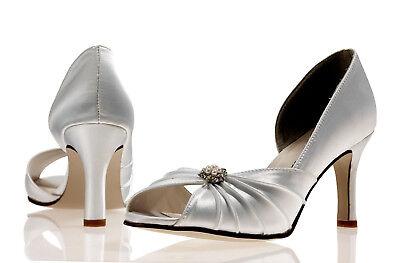 Elfenbein Satin Hochzeit Braut Brautjungfer Schuhe 4,5,6,7,8 Pure & Precious
