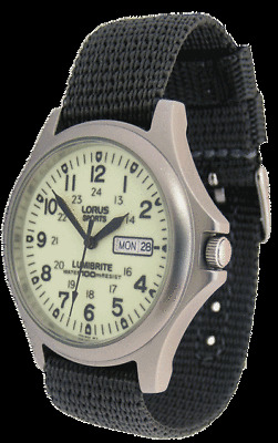 AX14 Lorus Gents Mens Luminous Date Display Military Style Strap Watch RXF41AX7