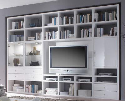 FIF Bücherregal Bibliothek Wohnwand Toro Hochglanz weiß