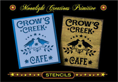 Primitive Stencil-CROW'S CREEK CAFE~Classic Looking Vintage Sign from the 1800s