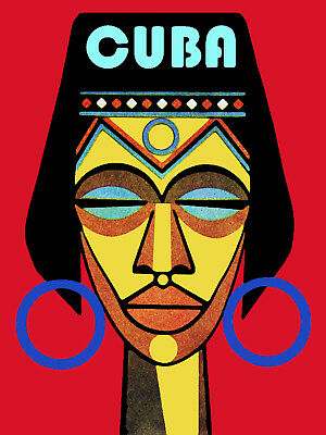 Cuba Travel Poster.Afro Cuban Yoruba Religion.Office Travel shop art Decor.6i