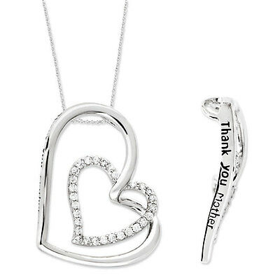 "Heart Pendant, Thank You Mother, Family Mother's Jewelry Silver 18"" Necklace"