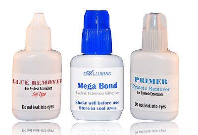 ALLURING MEGA Bond Glue + Gel Remover + Primer Eyelash Extension Strong Adhesive