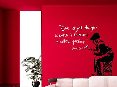 Banksy Graffiti One original thought is worth.. Wall Stickers Decal! 80cm x 70cm
