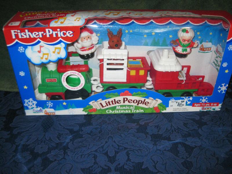 Fisher Price liten människor liten människor musikal Christmas Train New Santa Claus Reindeer