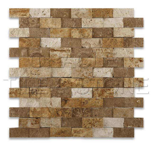 Mixed Travertine 1 X 2 Split-Faced Brick Mosaic Tile