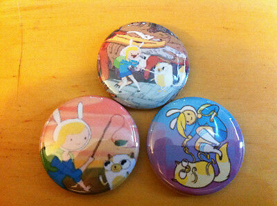 """ADVENTURE TIME Fionna and cake set of 3 1"""" pins pinback button Finn Jake set #2"""