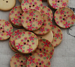 20-Wooden-Buttons-Maple-Red-Flower-3cm