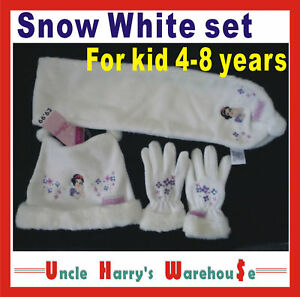 Girls-DISNEY-SNOW-WHITE-warm-HAT-BEANIE-SCARF-SET-FOR-AGE-4-8-winter-new