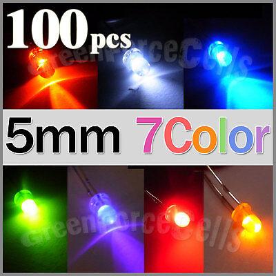 100 x 5mm Bright 7 colors 20000 mcd LED Bulb Light Lamp