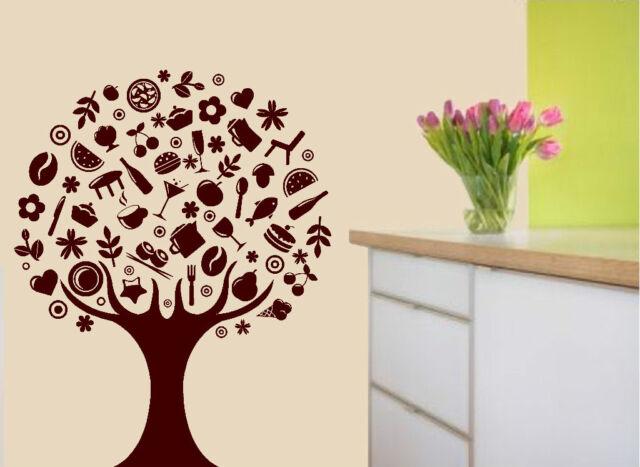 Kitchen Tree Food Vinyl Decal Wall Art Cafe Sticker