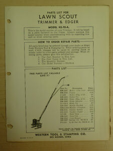 Western Tool Lawn Scout Power Edger Trimmer Parts Manual