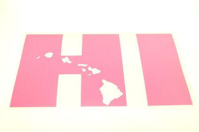 """6"""" PINK HI HAWAII MAP OF HAWAIIAN ISLANDS Vinyl Car Truck Window Decal Sticker"""