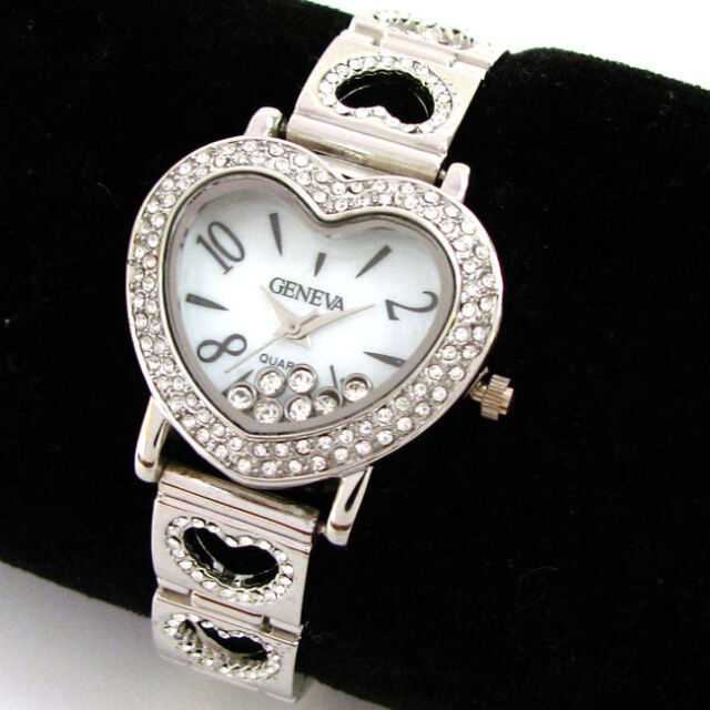 Silver Crystal Heart Case & Bracelet Geneva Women's Jewelry Watch