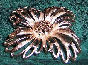 Vtg-LINSER-silver-tone-BROOCH-FLOWER-pin-3D-2-diameter