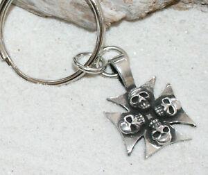 IRON-CROSS-SKULL-GOTHIC-Pewter-KEYCHAIN-Key-Chain-Ring