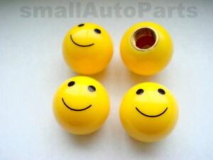 4-car-truck-bike-yellow-SMILE-FACE-BALL-tire-wheel-air-valve-stem-CAPS
