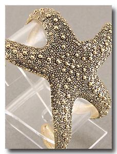 Starfish-Cuff-Bracelet-Chunky-Metal-Rhodium-GOLD-BEAUTIFUL-Sea-Shell-Design