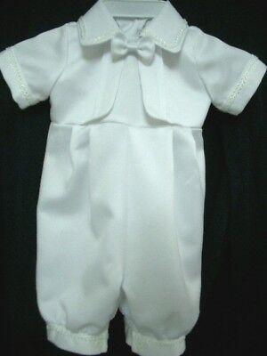 Baby Boy / Girl White Satin Christening Baptism Romper & Bonnet Size 0000 to 0
