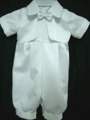 Baby Boy Girl White Satin Christening Baptism Romper & Bonnet | Size 0000 to 0 |