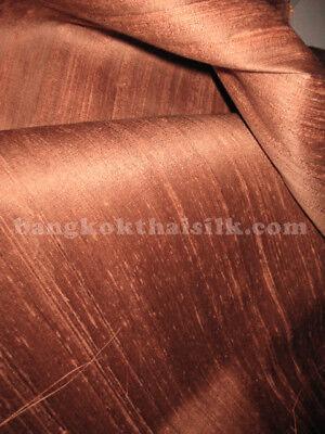 Coin Copper Brown 100% Silk Dupioni Fabric BTY Blouse Dress Drape Kimono Scarf