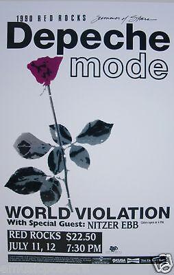 "DEPECHE MODE - NITZER EBB ""WORLD VIOLATION 1990 TOUR"" DENVER CONCERT  POSTER"