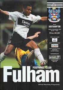 Football Programme Fulham v Southampton League Cup 1998 - Newton Abbot, Devon, United Kingdom - Football Programme Fulham v Southampton League Cup 1998 - Newton Abbot, Devon, United Kingdom
