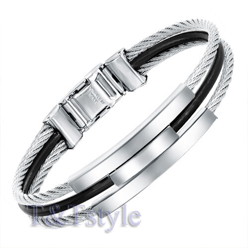 UNIQUE T/&T 316L Stainless Steel Bangle NEW BS03
