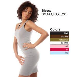 Women-2x1-Rib-TANK-DRESS-mini-Royal-Apparel-S-M-L-XL-2X-Alternative-American-Top