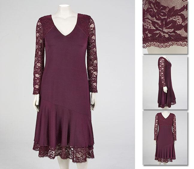 NEW  Zaftique LACEY HEM Dress EGGPLANT Purple 0Z 4Z   14 28   Large L 4X