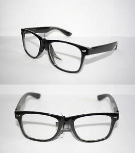 Mens-Womens-Wayfarer-Nerd-Eye-Glasses-Black-Frame-Geek-Retro-80s-Vintage
