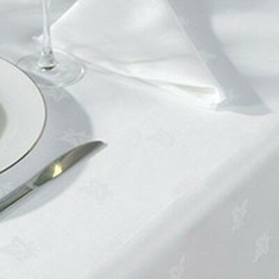 Large White Egyptian Cotton Ivy Leaf Damask Tablecloths